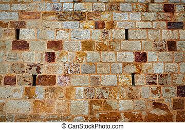 Zamora stone masonry wall detail Spain