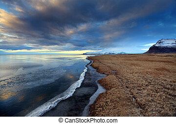 zamrzlý, břeh, do, island