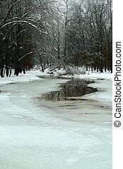 zamrznout rybník, zima