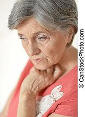 zamyślony, kobieta, starszy