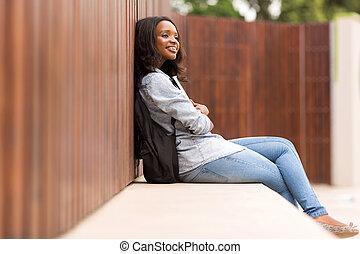 zamyślony, kolegium, młoda dziewczyna, afrykanin