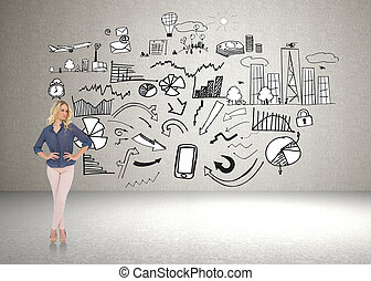 zamyślony, wspaniały, blondynka, chodząc, szykowny, odzież, przedstawianie, przeciw, brainstorm, na, ściana
