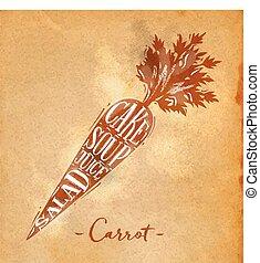 zanahoria, corte, esquema, arte