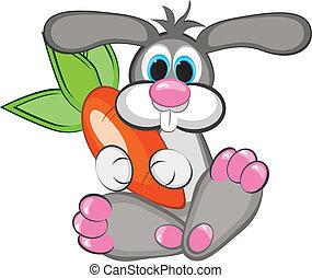 zanahoria gigante, conejo