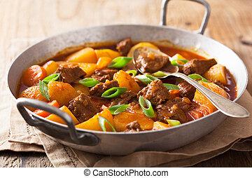 zanahoria, guisado, carne de vaca, papa