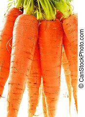zanahorias, aislado, plano de fondo, fresco, blanco, ramo