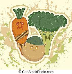zanahorias, papas, bróculi