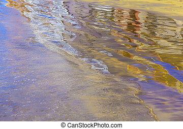 zand, abstract, backround, met, reflectie