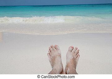 zand, blootsvoets, strand