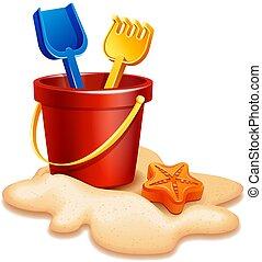 zand emmer, schop, en, hark