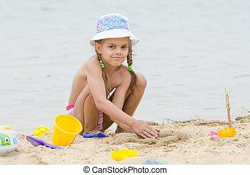 zand, five-year, strand, meisje, spelend