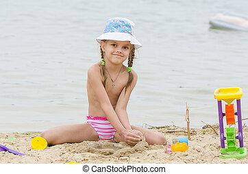 zand, gloort, meisje, rivier, strand, five-year