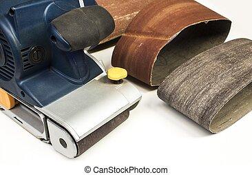zand, hout, gereedschap, riem, achtergrond, witte