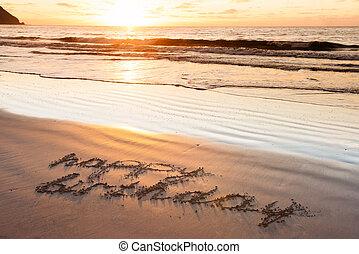 zand, jarig, strand, vrolijke