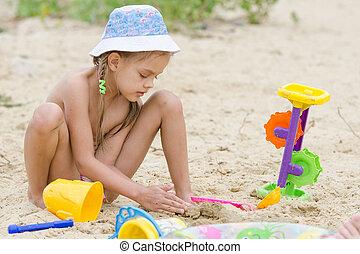 zand, rivier, five-year, meisje, spelend