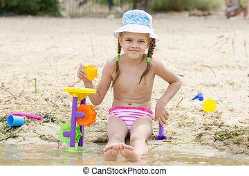 zand, rivier, spelend, meisje, five-year