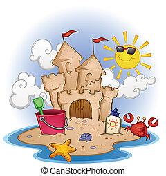 zand strand, kasteel, spotprent