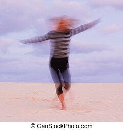 zand, swirling, meisje, dune.