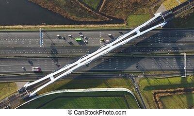 Zandhazenbrug arch bridge over the A1 highway in Muiderberg, The Netherlands
