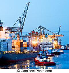 zaneprázdněný, mořský přístav