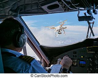 zangão, sendo, golpe, por, avião comercial