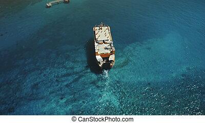 zangão, velejando, vôo, aéreo, balsa, grande, sobre, bote