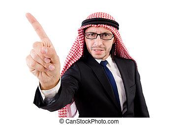 zangado, árabe, homem, em, óculos, isolado, branco