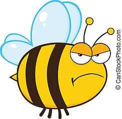 zangado, abelha, caricatura, personagem