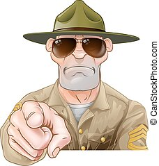 zangado, apontar, broca, sargento