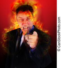 zangado, apontar, despedido, chamas, saliência