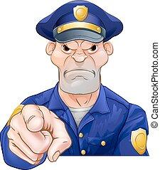 zangado, apontar, policial