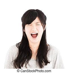zangado, asiático, jovem, casual, retrato mulher