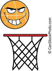 zangado, basquetebol, borda