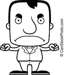 zangado, businessperson, caricatura, homem