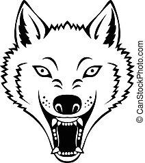 zangado, cabeça lobo, tatuagem