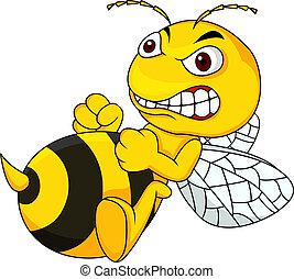 zangado, caricatura, abelha