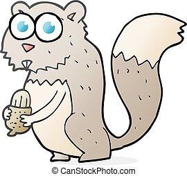 zangado, caricatura, noz, esquilo