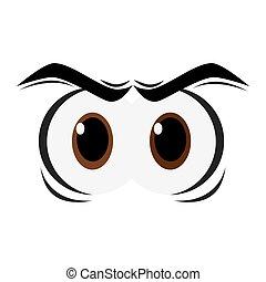 zangado, caricatura, olhos, ícone