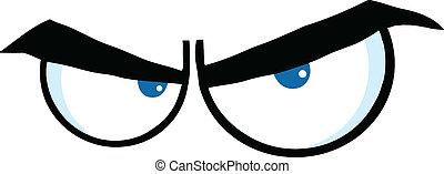 zangado, caricatura, olhos