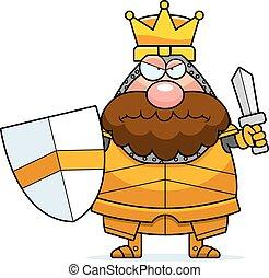 zangado, caricatura, rei