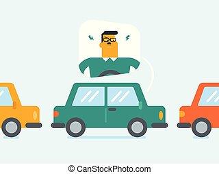 zangado, caucasiano, homem, carro, meteu trânsito, jam.