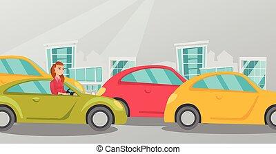 zangado, caucasiano, mulher, carro, meteu trânsito, jam.