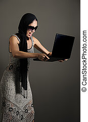 zangado, com, laptop