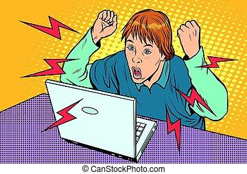 zangado, computador, laptop, adolescente, sentando