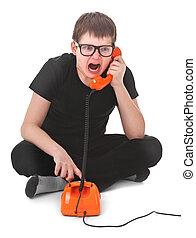 zangado, criança, gritos, telefone