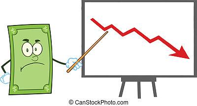 zangado, dólar, caricatura, personagem