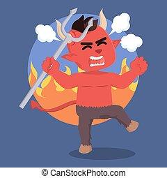 zangado, diabo, desenho, Ilustração
