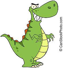 zangado, dinossauro, caricatura, personagem