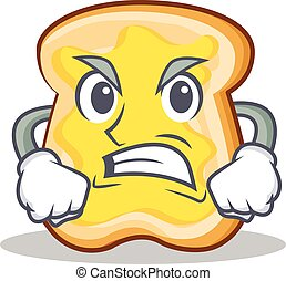 zangado, fatia, personagem, caricatura, pão