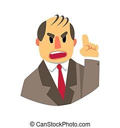 zangado, homem apontando, cima., coloridos, caricatura, personagem